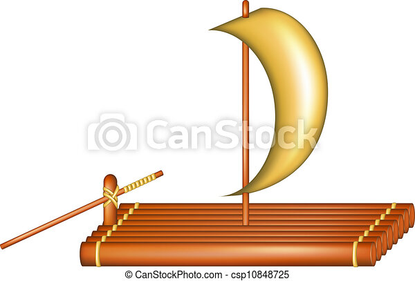 Wooden raft with sail - csp10848725