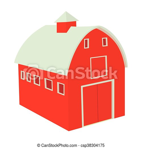 Wooden red barn icon in cartoon style - csp38304175