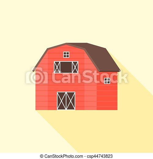 wooden red barn vector icon, flat design - csp44743823