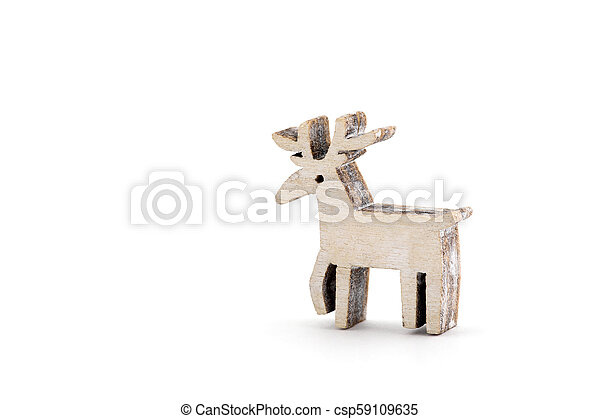 Wooden reindeer Christmas decoration on white background - csp59109635