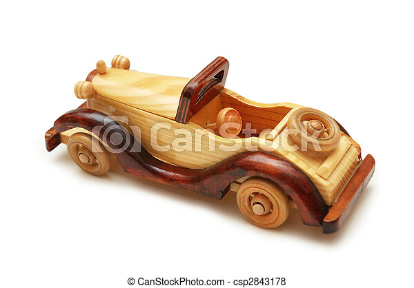 Wooden retro car isolated on the white - csp2843178