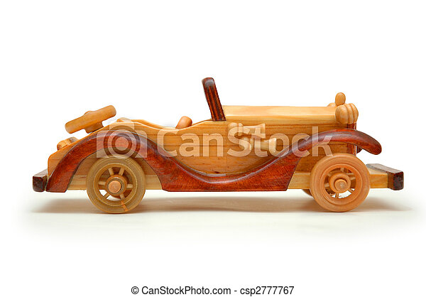 Wooden retro car isolated on white - csp2777767