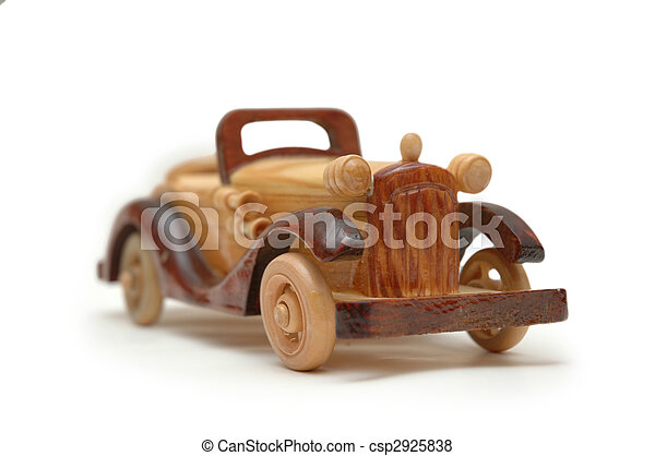 Wooden retro car model isolated on white - csp2925838