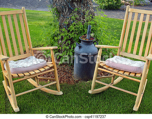 Stupendous Wooden Rocking Chairs On A Beautiful Green Lawn Squirreltailoven Fun Painted Chair Ideas Images Squirreltailovenorg