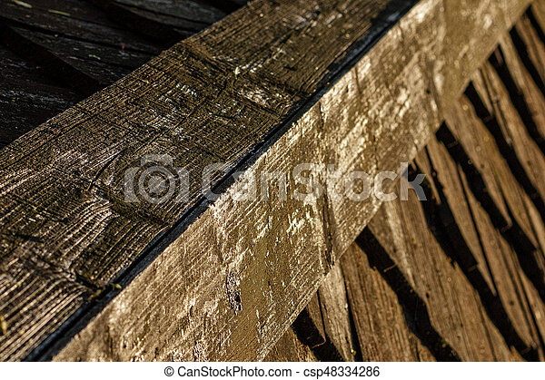 Wooden roof tile of old house - csp48334286