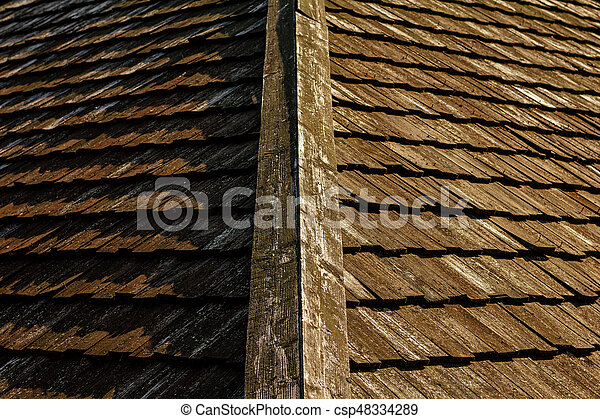 Wooden roof tile of old house - csp48334289