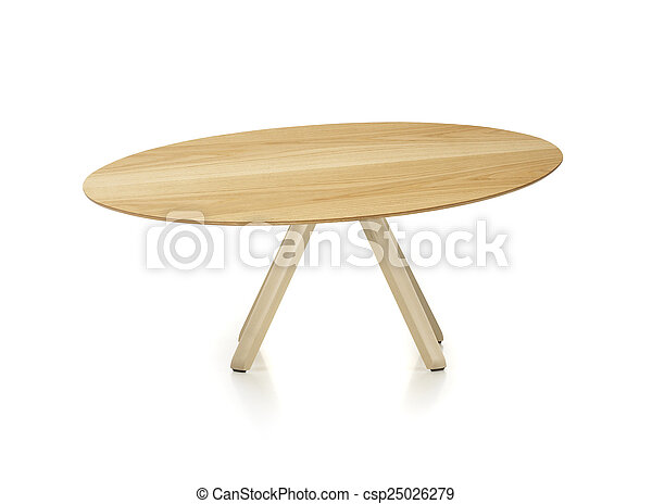 wooden round table isolated on white - csp25026279