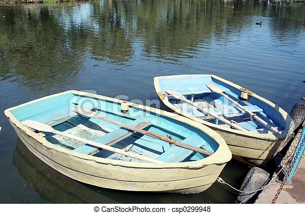 Wooden Row Boats Two Docked Wooded Pictures