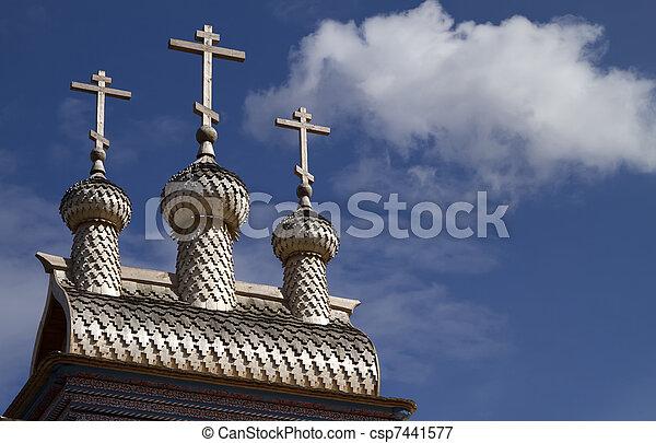 wooden russian church - csp7441577