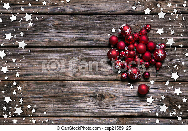 Country Christmas Background.Wooden Rustic Christmas Background With Red Balls And As