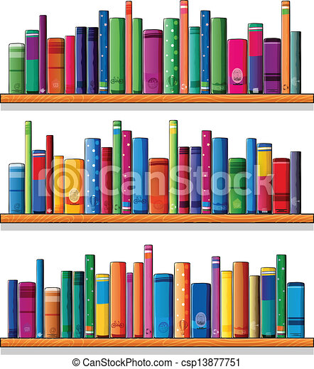 Wooden shelves with books - csp13877751