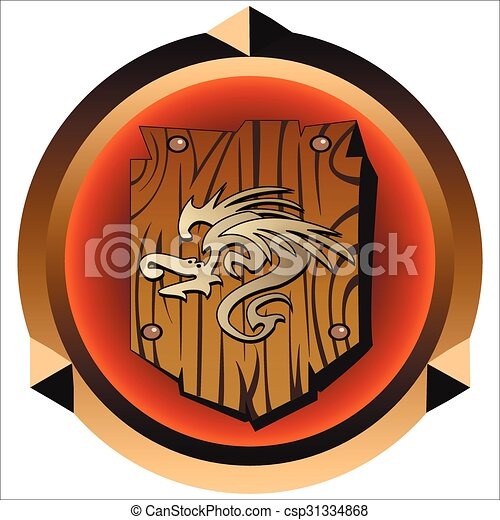 round icon with antique wooden shield with dragon print