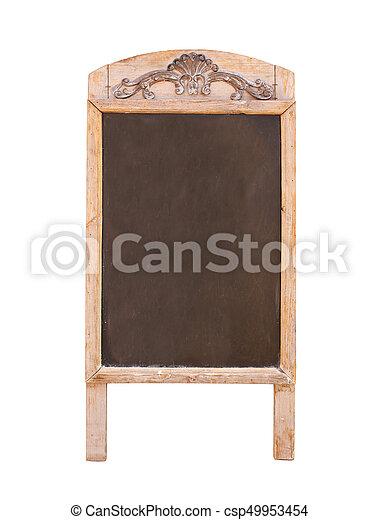 Wooden sidewalk sign with blank black menu board - csp49953454