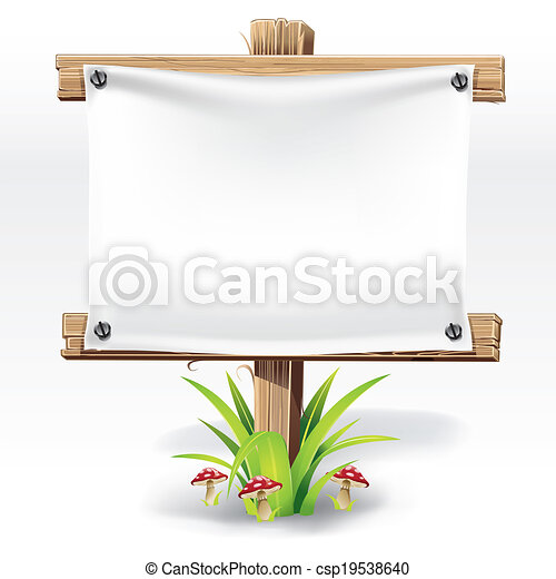 Wooden sign and paper - csp19538640