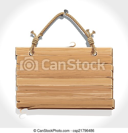 Wooden Sign Boarder With Rope Hanging On A Nail Vector