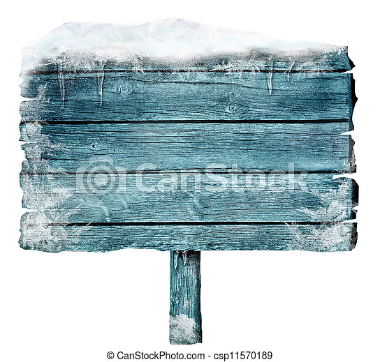 Wooden sign in winter - csp11570189