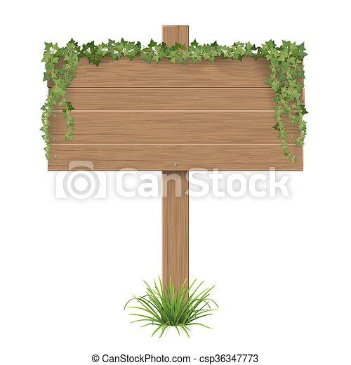 wooden sign ivy grass - csp36347773