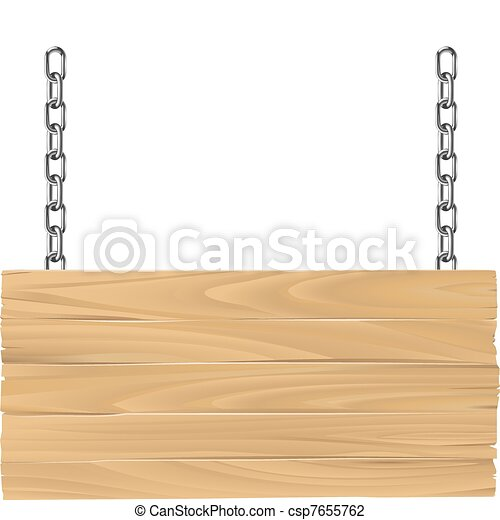 Wooden sign on chains illustration - csp7655762