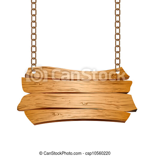 Wooden sign suspended on chains - csp10560220