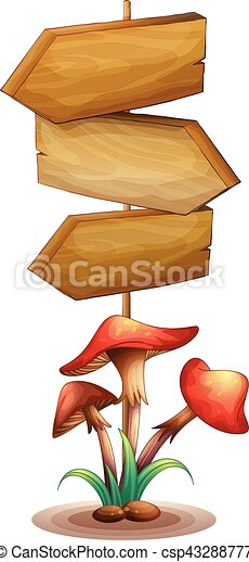 wooden sign template with mushroom illustration
