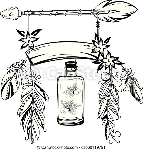Wooden Sign With Arrow And Feathers Vector Of Hand Drawn Wooden Sign With Arrow Feathers And Flowers In Boho Style