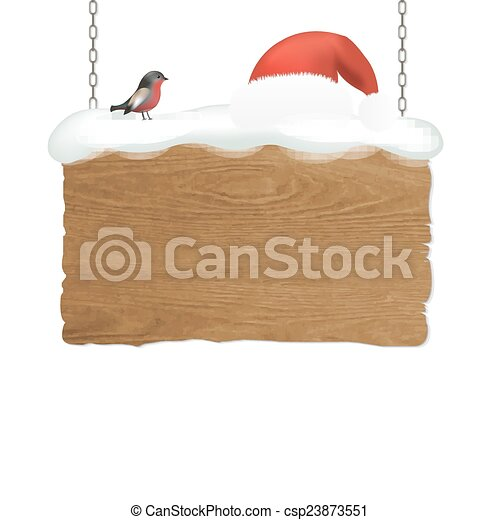 Wooden Sign With Bird - csp23873551