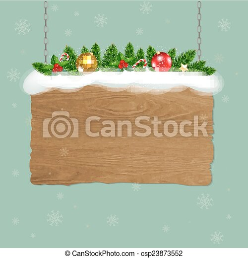 Wooden Sign With Fir Tree - csp23873552