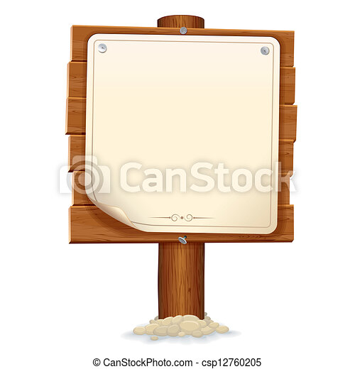 Wooden Sign with Paper Scroll. Vector Image - csp12760205