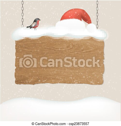 Wooden Sign With Snow And Bird - csp23873557