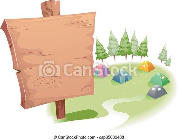 Wooden Signage Campsite - csp35000488