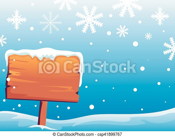 Wooden Signage on Snowy Background - csp41899767
