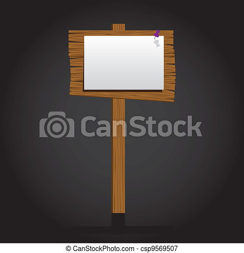 wooden signage with a paper - csp9569507