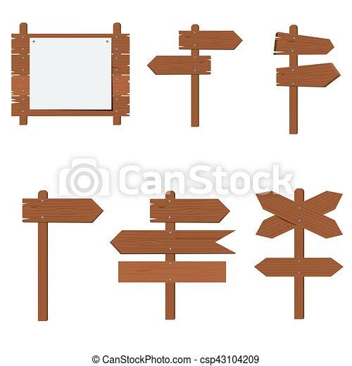 Wooden signboards, wood arrow sign vector set - csp43104209
