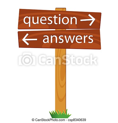 wooden signpost for questions and answers vector illustration - csp8340639