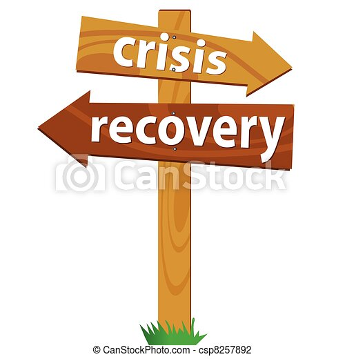 wooden signpost for the crisis and recovery - csp8257892