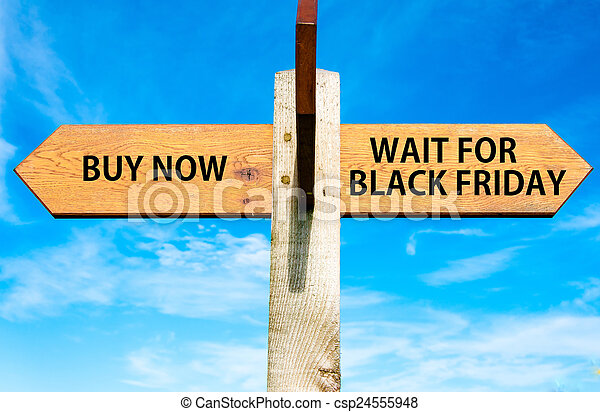 Wooden signpost with two opposite arrows over clear blue sky, Buy Now versus Wait for Black Friday messages, Sales conceptual image - csp24555948