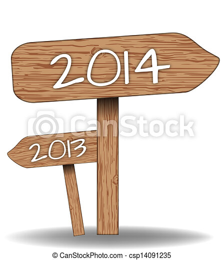 Wooden signs 2014 - csp14091235