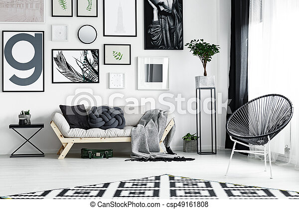 Wooden sofa by wall - csp49161808