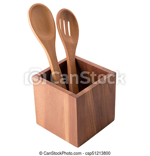 Wooden spoon in wooden box isolated on white background - csp51213800