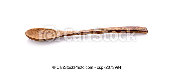wooden spoon isolated on white background - csp72073994