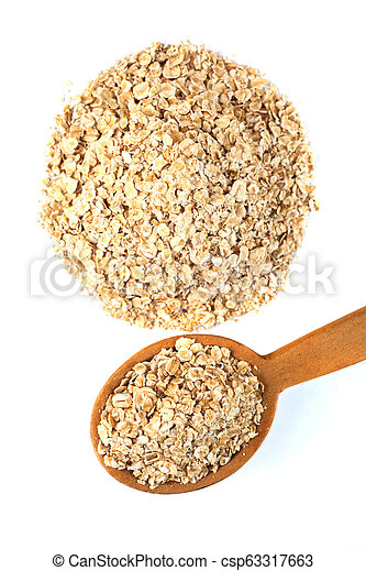 Wooden spoon of rolled oats flakes on a white background, top view - csp63317663