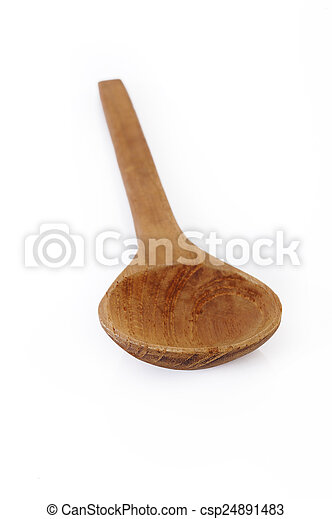 Wooden Spoon on white background - csp24891483