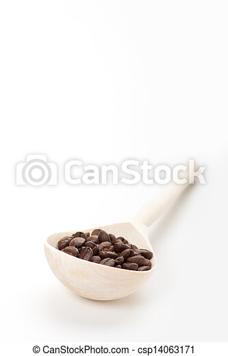 wooden spoon with coffee beans, isolated - csp14063171