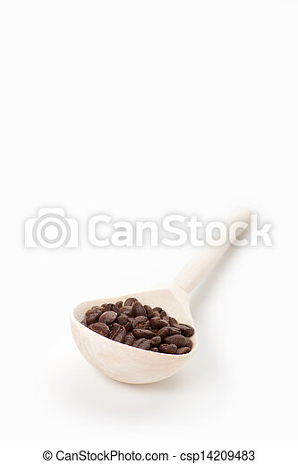 wooden spoon with coffee beans, isolated - csp14209483
