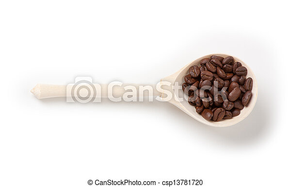 wooden spoon with coffee beans, isolated - csp13781720