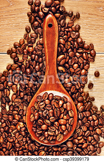 Wooden Spoon With Coffee Beans - csp39399179