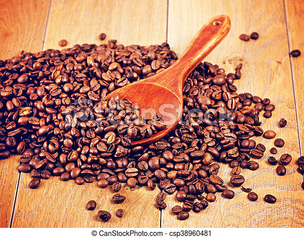 Wooden Spoon With Coffee Beans - csp38960481
