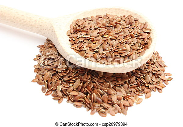 Wooden spoon with heap of linseed on white background - csp20979394