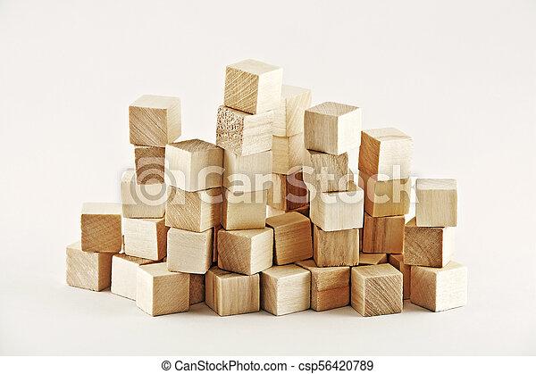 Wooden square blocks - csp56420789