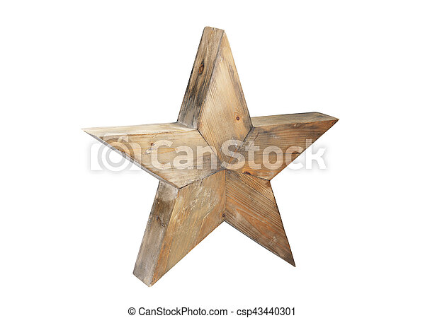 Wooden star isolated on white background - csp43440301